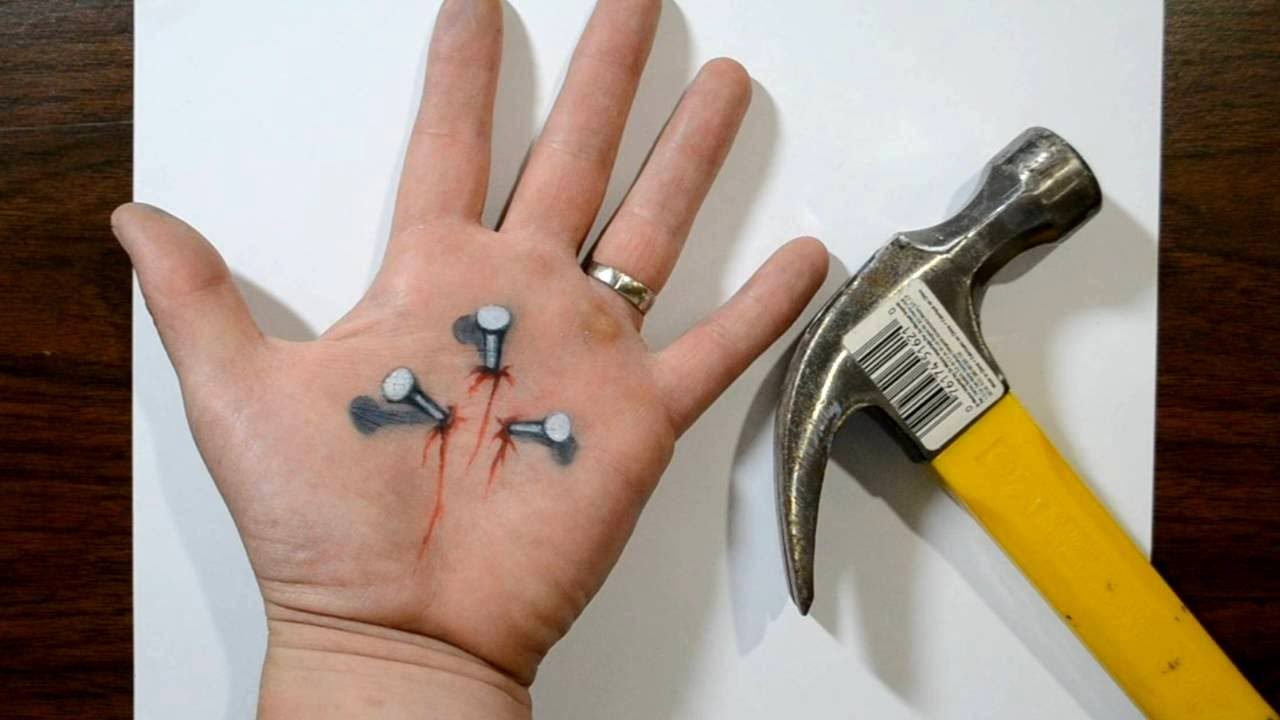 Hammering Nails into my Hand - Trick Art Optical Illusion - YouTube