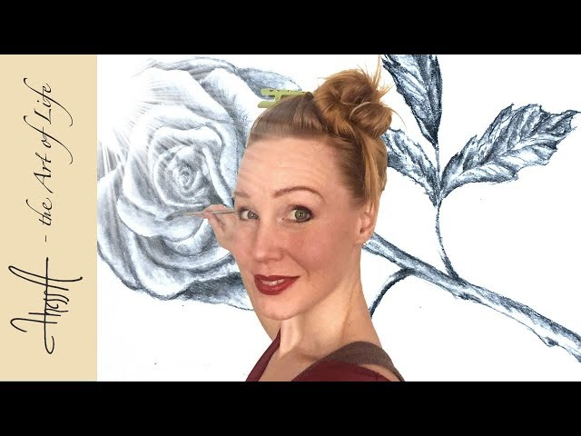 Sketching a rose - How to draw a rose with stem and leafs