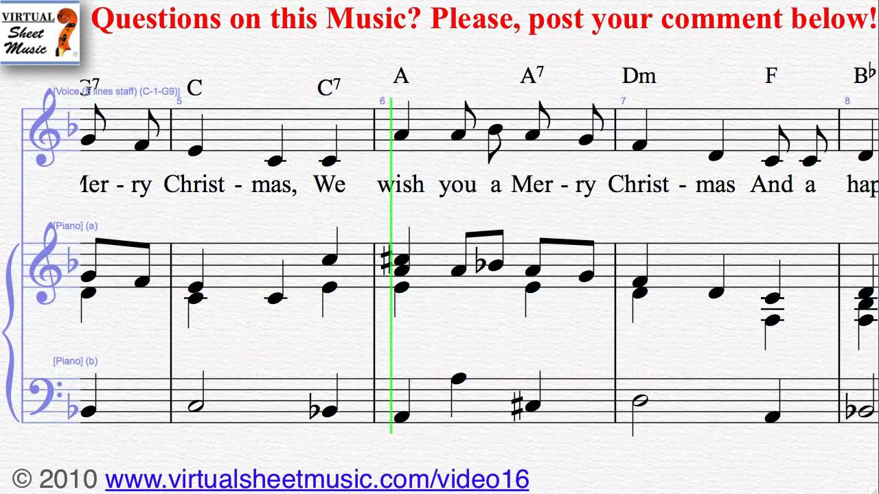 Christmas Carols - We Wish You a Merry Christmas voice and piano ...