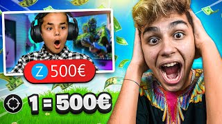 DONO 500€ OGNI KILL A UN FAN IN LIVE! *IMPAZZISCE* 😱 Fortnite