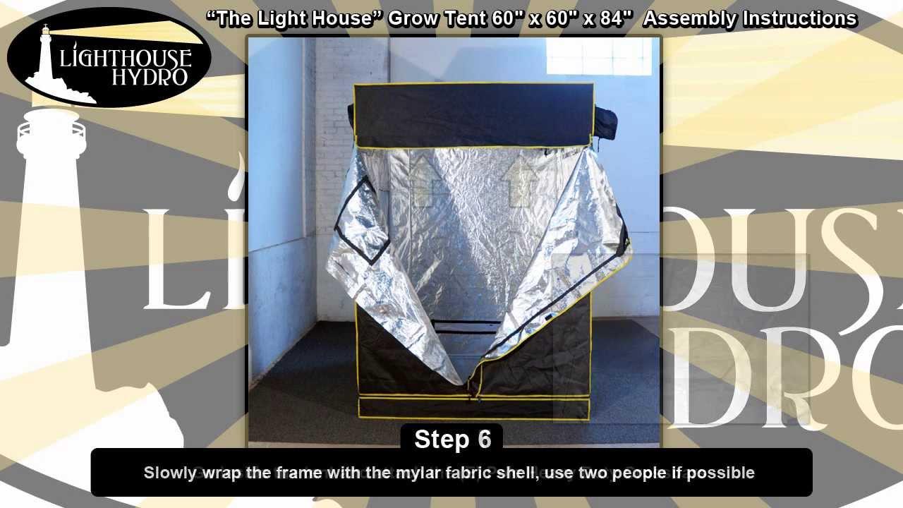 2013 Lighthouse Hydro Grow Tent - 5u0027 x 5u0027 x 7u0027 Assembly Instructions - YouTube & 2013 Lighthouse Hydro Grow Tent - 5u0027 x 5u0027 x 7u0027 Assembly ...