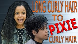 Long curly hair to pixie curly hair / hair transformation