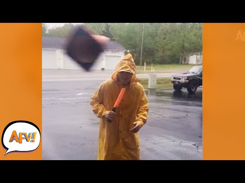 Cloudy With a Chance of FLYING Traffic Cones! 😅 | Funny Nature Fails | AFV 2021