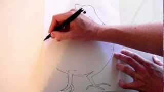 How to draw a guinea fowl