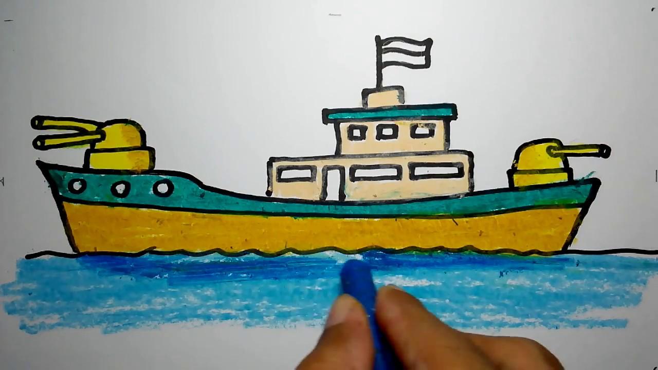 Cara Menggambar Kapal Perang Indonesia Untuk Anak Tk Dan Sd Youtube