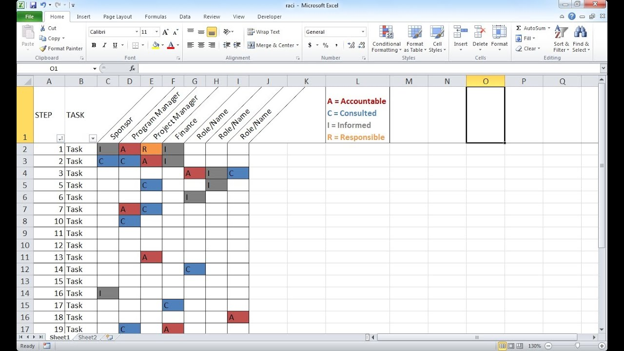 Create a Basic RACI Chart - YouTube
