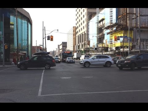 Driving on Eglinton Avenue from Highway 401 to Yonge Street in Toronto Canada