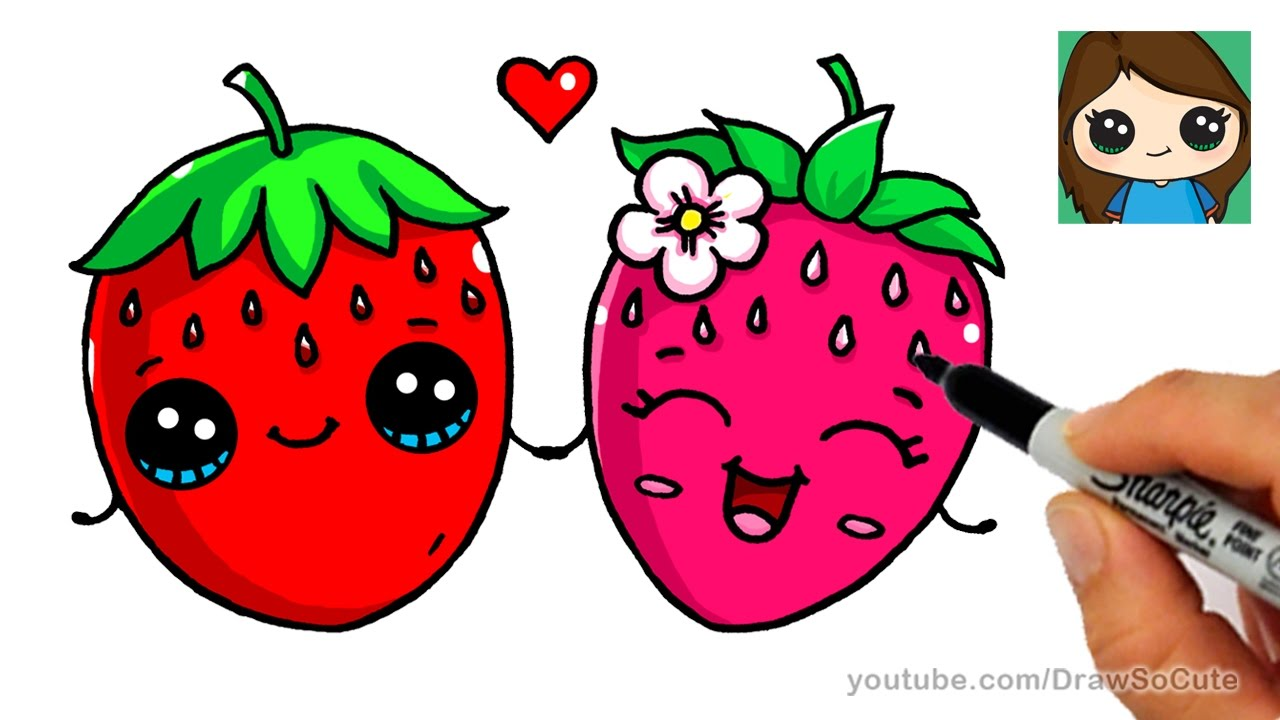 how to draw a strawberry easy cute fruit youtube