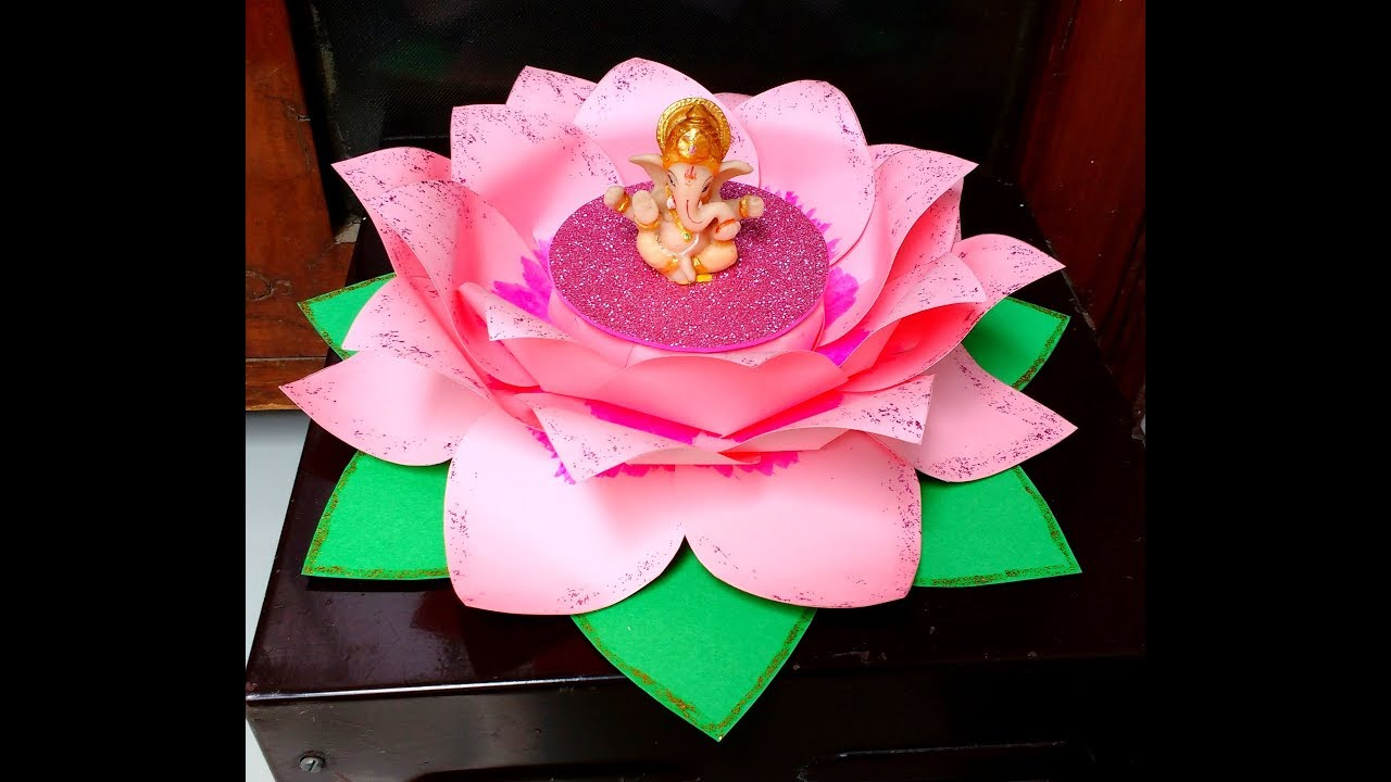 Diy How To Make Easy Paper Lotus Singhasan Throne For Ganesh