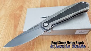 REAL STEEL T109 FLYING SHARK CARBON FIBER INLAY FOLDING FLIPPER KNIFE 7821