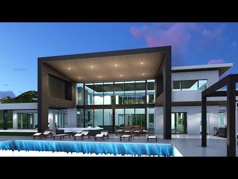 Fly through video for modern acreage home design