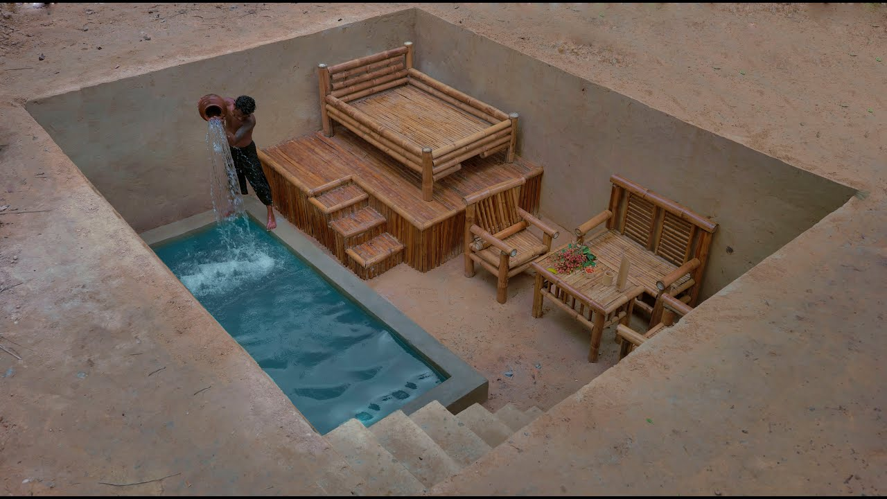 Building The Most Creative Luxury Underground Private Living Room with Swimming Pool