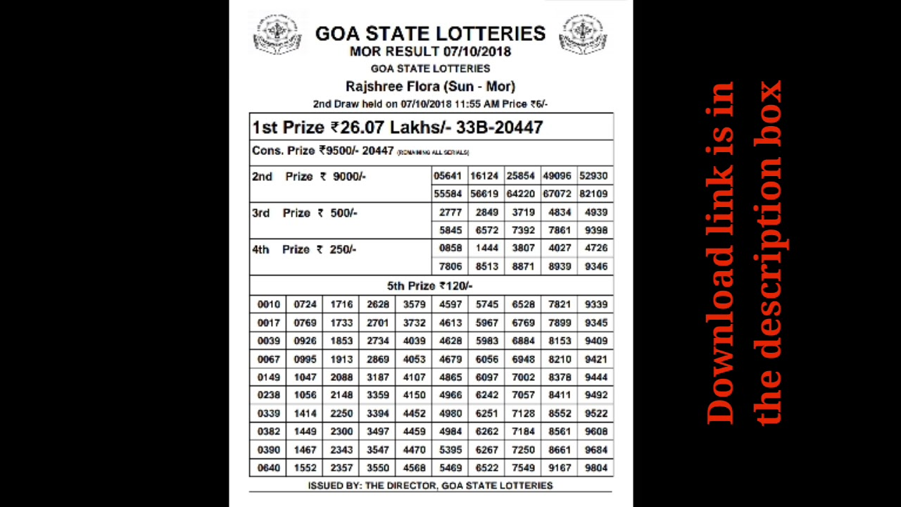Rajshree lottery result morning 07/08/2018 goa state lottery
