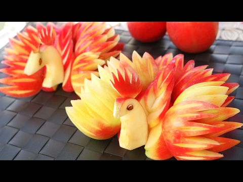 Art In Apple Peacocks | Fruit Carving Garnish | Apple Art | Party Garnishing