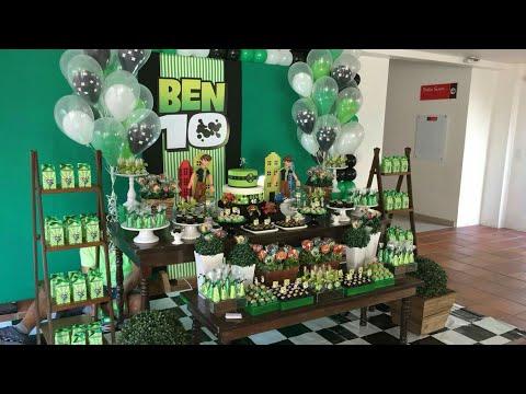 Fiesta de ben 10 fiestas infantiles decoracion adornos for Decoracion de mesas dulces infantiles