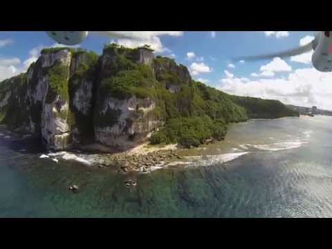 Two Lovers Point in Guam - flying around the point, aerial views