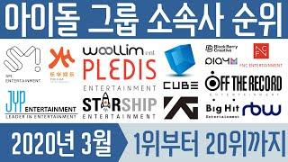 [최신판] 아이돌 그룹 소속사 순위 TOP20 (2020.03 K-POP IDOL GROUP ENTERTAI…
