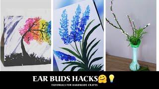 DIY-Earbuds hacks/Easy kids  painting idea using cotton swabs/Reuse damaged buds