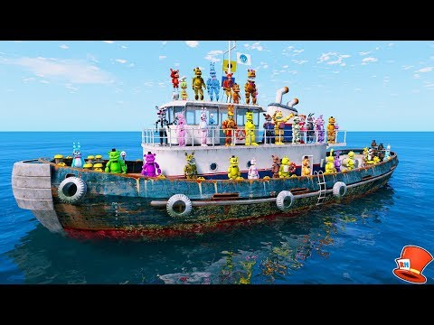 ANIMATRONICS LOST AT SEA! (GTA 5 Mods For Kids FNAF RedHatte