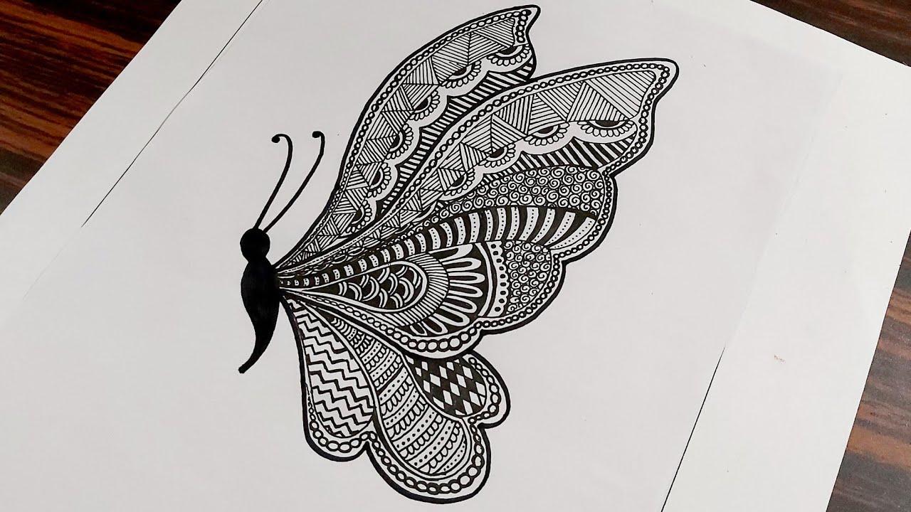 Butterfly Mandala Art for Beginners || Step by Step || Mandala Drawing | Zentangle Art | Doodle Art