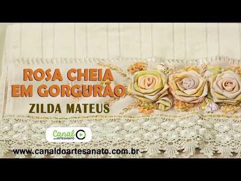 Canal Do Artesanato - Bordado De Rosa Cheia Em Fita De Gorgurão