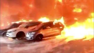 Incendie Prestige Auto - Arrivée des Pompiers
