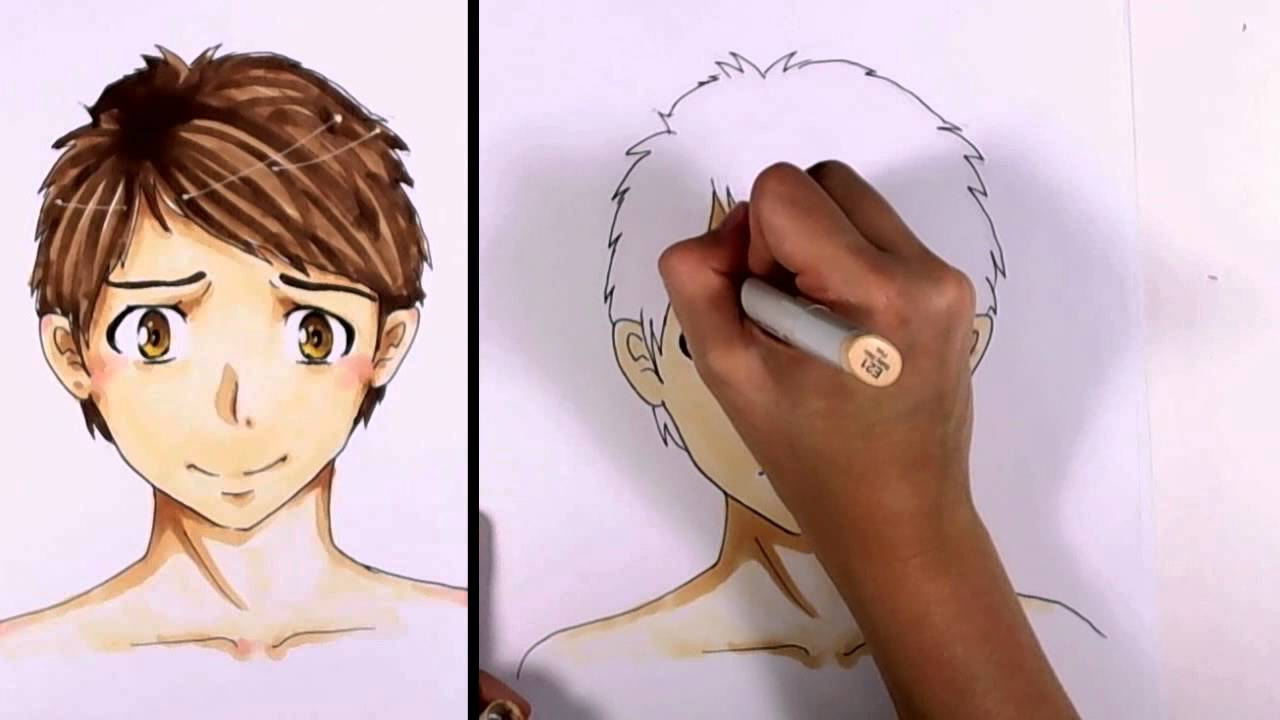 How to color a manga anime boy face with copic markers mlt youtube