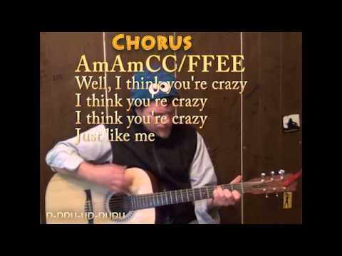 Crazy (Gnarls Barkley) Guitar Cover Lesson with Chords Lyrics - Am C F E A