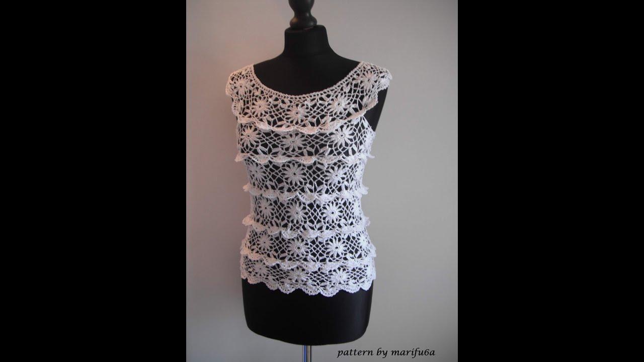 How To Crochet Ruffle Blouse By Marifu6a Free Crochet
