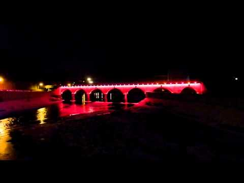 Johnstown Stone Arch Bridge Light Show With A Norfolk Southern Train