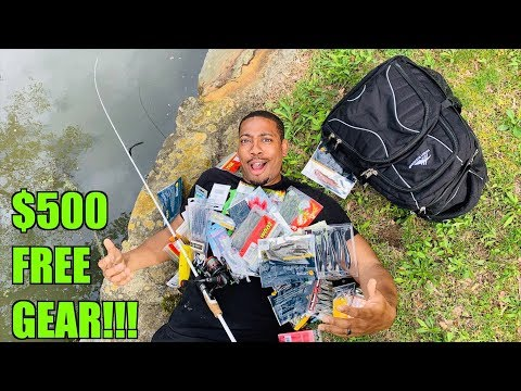 NEW Fisherman gets $500 FREE Fishing Gear!!! (Can he Catch his First Bass?!)