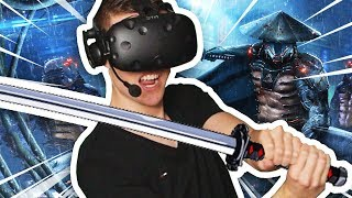 INCREDIBLE CYBER NINJA SIMULATOR IN VIRTUAL REALITY (Sairento VR HTC Vive Funny Gameplay)