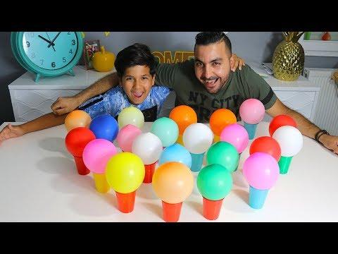 Challenge ballon gobelet surprise, papa vs fils, ADEL ET SAMI