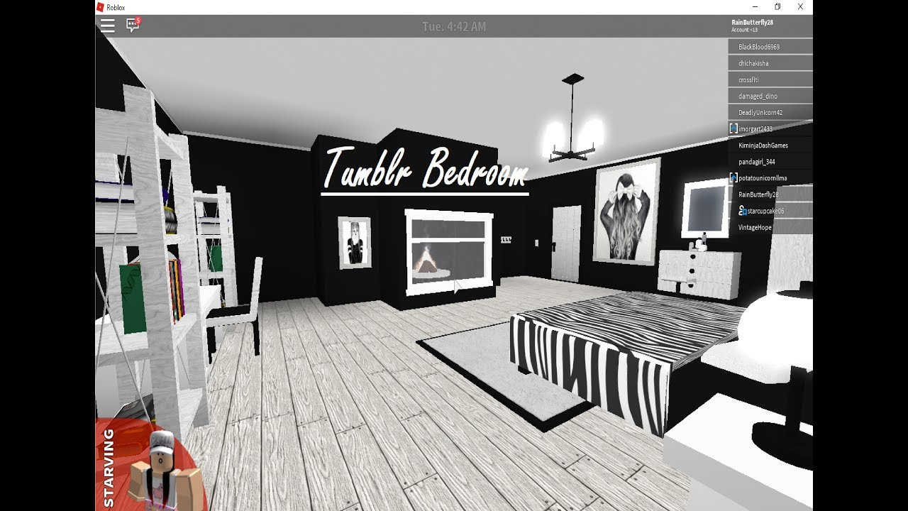 Roblox bloxburg touring a tumblr bedroom theres a for Kitchen designs bloxburg