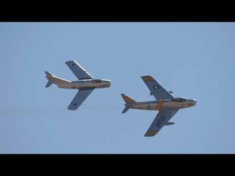 Mig-15 & F-86 Flybys .. California Capital Airshow 2017 (4K)