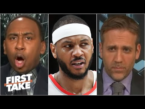 Stephen A. Gets Heated Over Max Doubting That Carmelo Would Have Rings With The Pistons | First Take