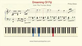 "How To Play Piano: Philip Glass The Truman Show ""Dreaming Of Fiji"" Piano Tutorial by Ramin Yousefi"