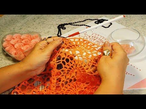 Вязание крючком платья на круглой кокетке/3 часть