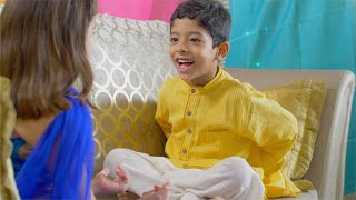 Raksha Bandhan - Indian Festival - Cute brother teases and give rakhi gift to his little sister