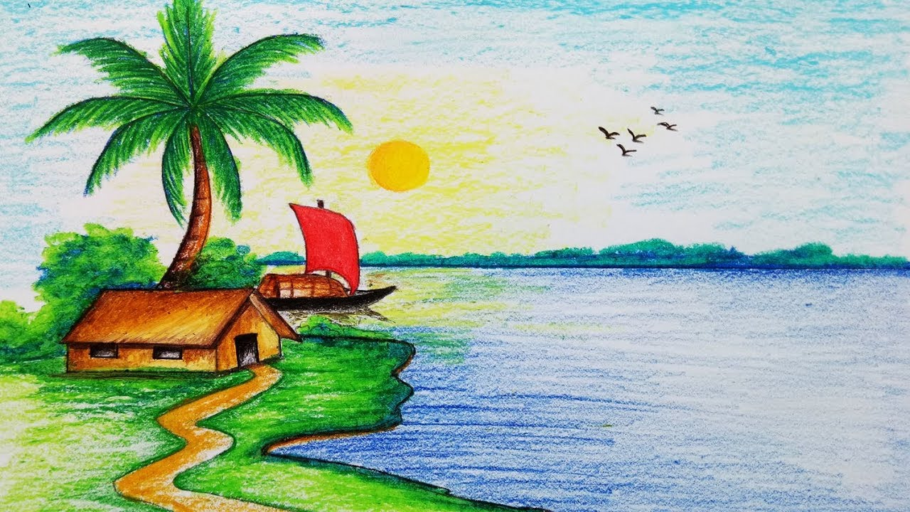 How to draw Riverside Village Scenery.Step by step(easy draw) #1