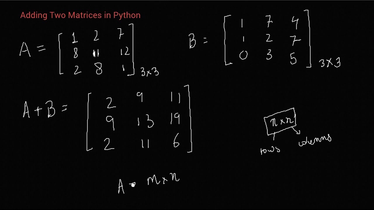 Python Program To Add Two Matrices Youtube Time complexity of matrix addition