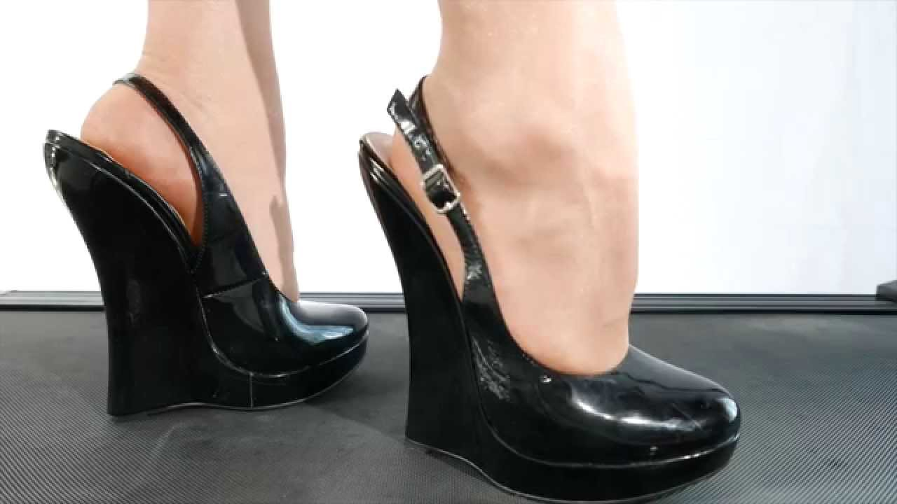 Walking with extreme high Giaro wedge High Heels - over 7 inches ...