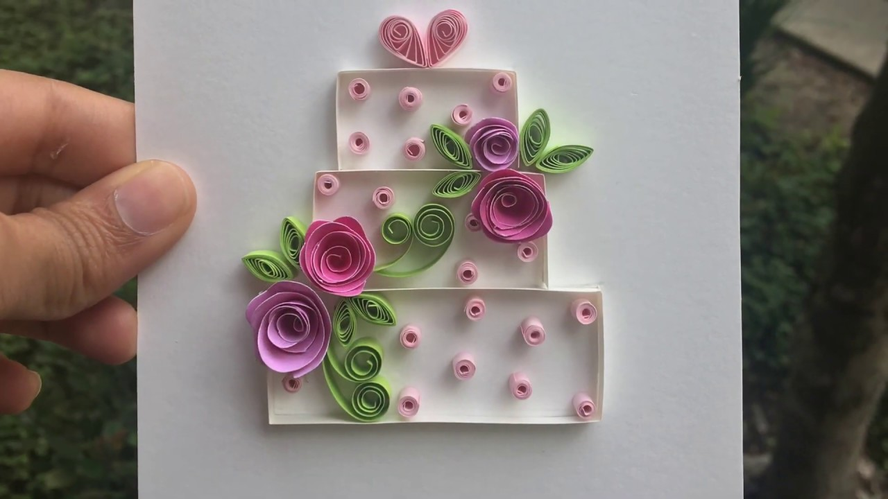 quick and easy 🌹🌹🌹greeting card  make a quilling cake