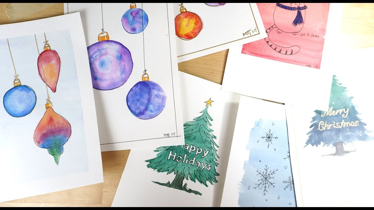 Watercolor Christmas Cards - Wet in Wet Wash Ornaments Tutorial ...