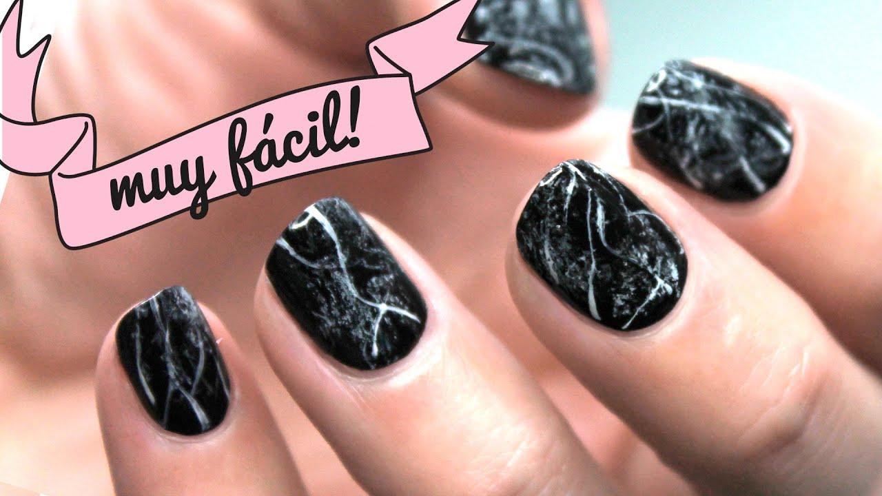 NAIL ART MUY FÁCIL | Uñas de mármol negro paso a paso - YouTube