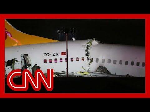 Plane breaks apart after skidding off runway in Turkey