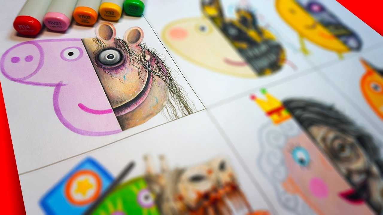 HORROR Artist Draws PEPPA PIG Characters in SCARY Styles 🐷 (FNAF + More!)