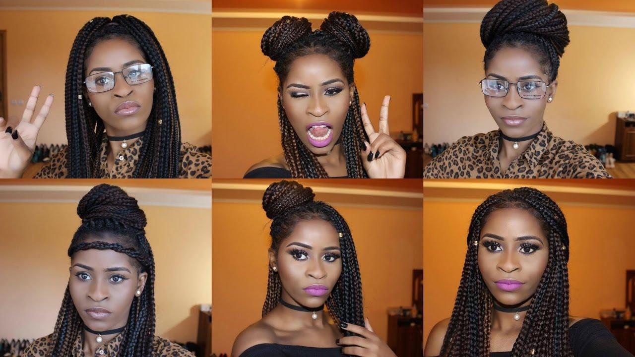 How I Style Box Braids 8 Quick Hairstyles Como Peinar Tus
