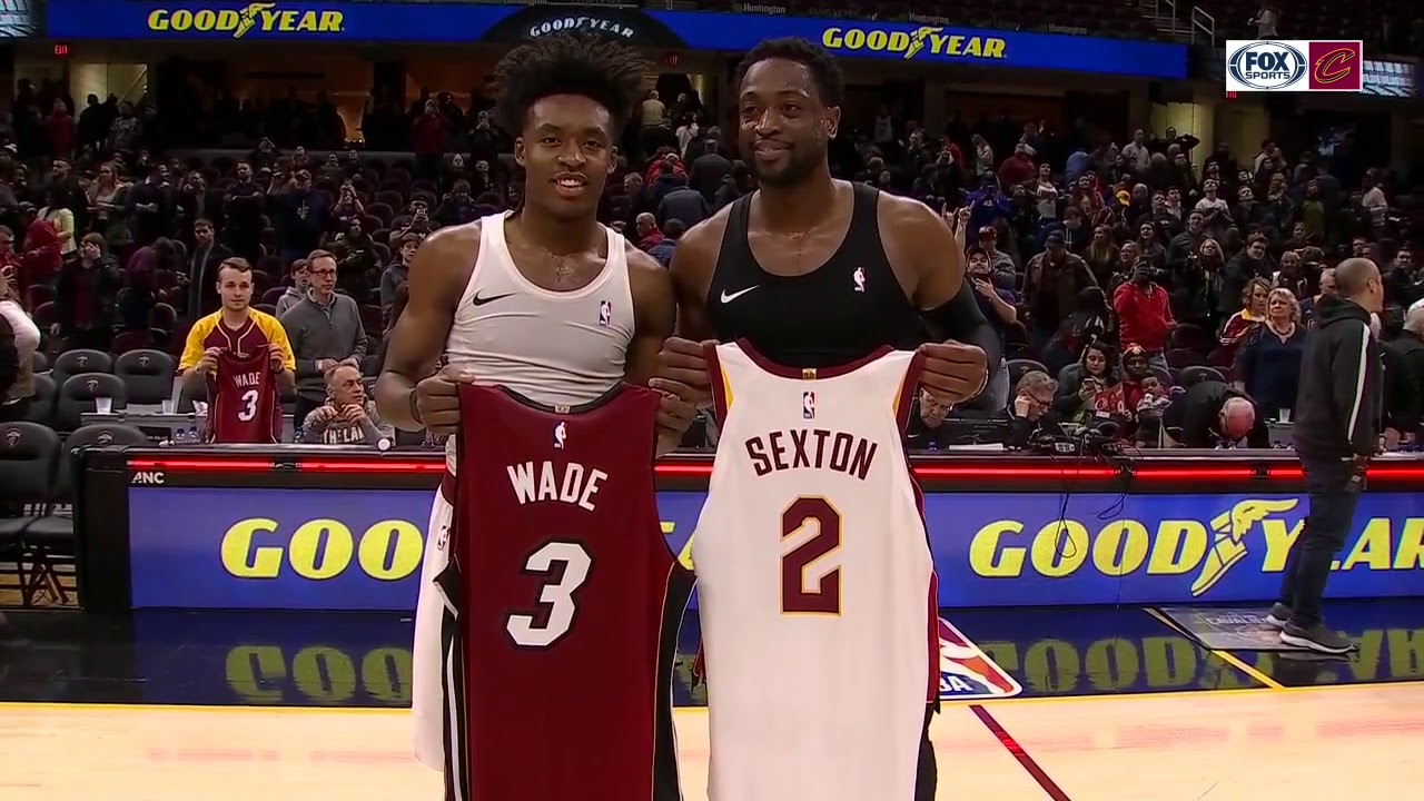 on sale 9e8da 106fe Dwyane Wade exchanges jerseys with Collin Sexton after his final game in  Cleveland