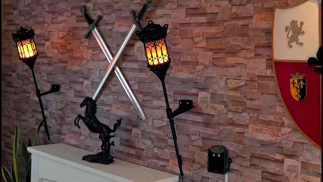 info for c3399 b7a6e How to Make a Flaming Wall Torch (Based on Ikea floor Uplighter Lamp) (in  4K)